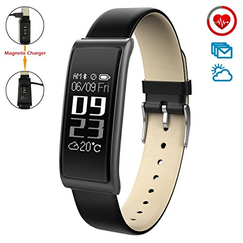 CHEREEKI Ultrasottile Fitness Tracker [Caricatore Magnetico / Leather Strap] Cardiofrequenzimetro Activity Tracker Sonno e calorie Monitoraggio / Notifications SMS, Facebook, Skype per iOS e Android