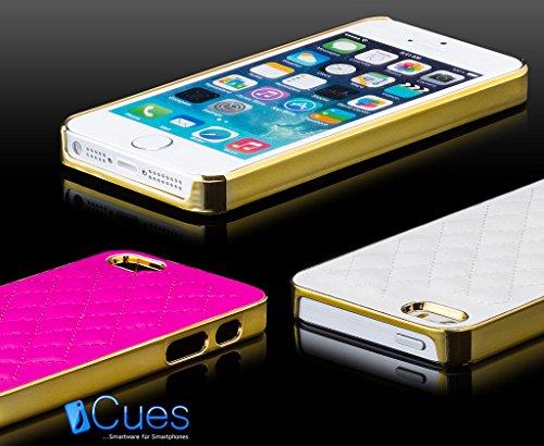 Apple iPhone SE / 5S / 5 | iCues cas robinet chromé Argent / Turquoise | [Protecteur d'écran, y compris] cuir chrome - faux de protection Housse Housse de protection Coque Housse Sac Étui Case Cover ORO pink