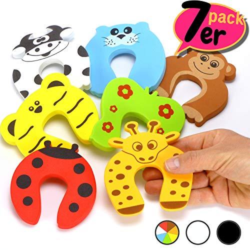 7 x Finger-Klemmschutz für Türen, Schaumstoff Kindersicherung, Baby Einklemmschutz, Türstopper mit Tiermotiven