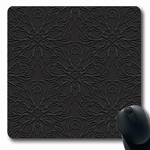 Blumen-teppich-designs (Mousepad für Computer Notebook Delicate Lux Schwarz Geprägtes Blumenmuster Abstrakte Blume Arabisch Asiatisch Barock Teppich Design rutschfeste Gaming-Mausunterlage)