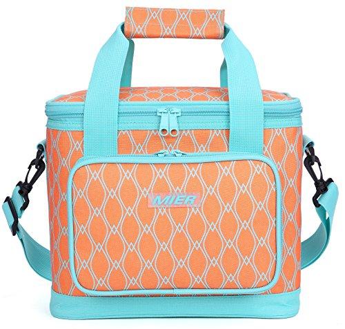 Mier picnic borsa termica grande borsa termica per il pranzo per uomini e donne, 20 can orange
