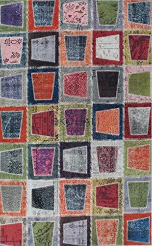 Eko siesta design moderno contemporaneo tappeto patchwork poliestere stampato, perfetto per soggiorno, sala da pranzo, camera da letto 1501multy, 120*180