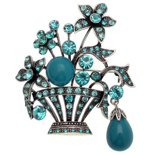 Acosta Jewellery Türkis Glänzend Blau Bead & Aqua Kristall–antik silber farbig Vintage Blume Korb Brosche mit Charme (Korb Mit Blumen Kostüm)