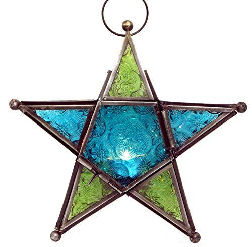 Guru-Shop Orientalische Glas Stern in Marrokanischem Design, Glas Laterne, Windlicht, Grün/türkis, Farbe: Grün/türkis, 19x19x5 cm, Teelichthalter & Kerzenhalter