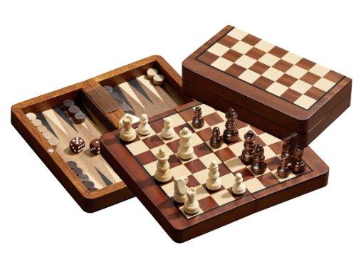 Philos-2517-Reise-Schach-Backgammon-Dame-Set-magnetisch-Feld-18-mm-Knigshhe-37-mm