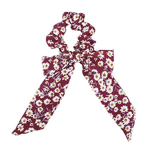 OULN1Y Stirnband Fashion Sweet Print Bow Scrunchie For Women Ribbon Elastic Hair Bands Girls Hair Ties Women Leopard Hair Accessories,B