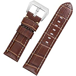 22mm Men's Premium Brown Italian Leather Watch Straps Replacements with White Contrast Stitching