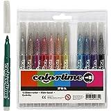 Pennarelli glitter Colortime, ampiezza tratto: 4,2 mm, colori asst, 12pz