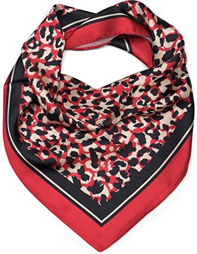 styleBREAKER pañuelo de mujer cuadrado con motivo estampado de leopardo, pañuelo multifuncional, pañuelo para el cuello, pañuelo para la cabeza, bandana 01016175, color:Rojo