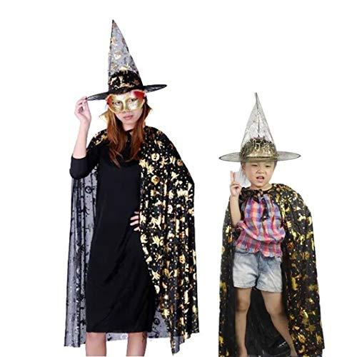 ZOYLINK 2 STÜCKE Halloween Hexe Mantel Fashion Star Kostüm Mantel Cosplay Cape mit Hüten (Mit Halloween-kostüme Hüten)
