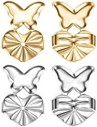 d402eb01f 2 Pairs Butterfly Style Earring Lifters Earring Backs Hypoallergenic Earring  Lifts Gold + Silver