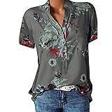 Große Größe Blusen Damen Elegante V-Ausschnitt Blumen Bluse Kurzarmshirt Sommer Casual Lose Tunika Top Hemd mit Knopfleiste Blusenshirt Tasche T-Shirt Oberteile(EUR-48/CN-5XL,Grau)