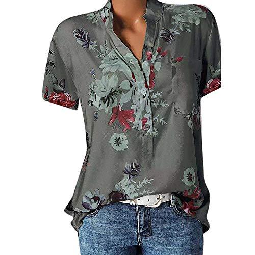 Große Größe Blusen Damen Elegante V-Ausschnitt Blumen Bluse Kurzarmshirt Sommer Casual Lose Tunika Top Hemd mit Knopfleiste Blusenshirt Tasche T-Shirt Oberteile(EUR-48/CN-5XL,Grau) - Schmetterling Kurzarm-bluse