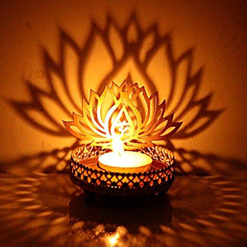 hashcart traditionellen Tee Licht Kerzenhalter/Metall Kerze Licht Halter Set/Designer Votivkerze Halter Ständer/Tisch Dekorative Kerze Halter, Lotus...