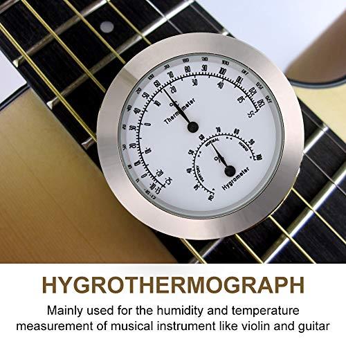 Runde Thermometer Hygrometer Indoor/Outdoor Gitarre Violine Thermometer Hygrometer Feuchtigkeit Digitale Luftfeuchtigkeit Temperatur Meter Monitor für Gitarre Violine Fall Teile Golden/Silber(Silber)