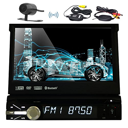 Eincar 7Inch New Radio Stereo-Abnehmbare Frontplatte Auto DVD CD-Player 8 GB GPS Navigationskarte Dash 1DIN Car Stereo FM AM RDS Radio-Empfänger Bluetooth USB SD HD Digital Touch Screen Universal-Headunit + Free Wireless Backup-Kamera (Abnehmbare Frontplatte Touchscreen)