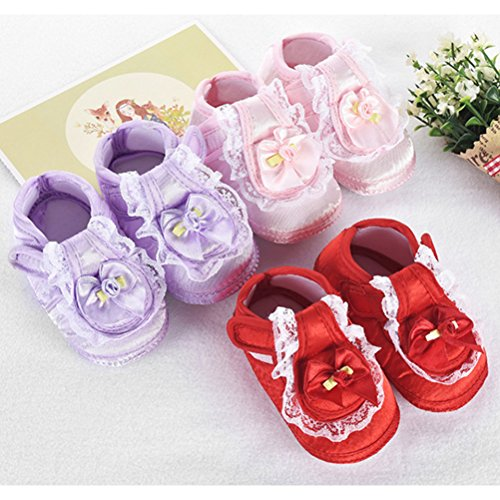 Zhhlinyuan First Walking Shoes Baby Girls Bowknot Decoration Anti-slip Sole Soft Shoes Pink