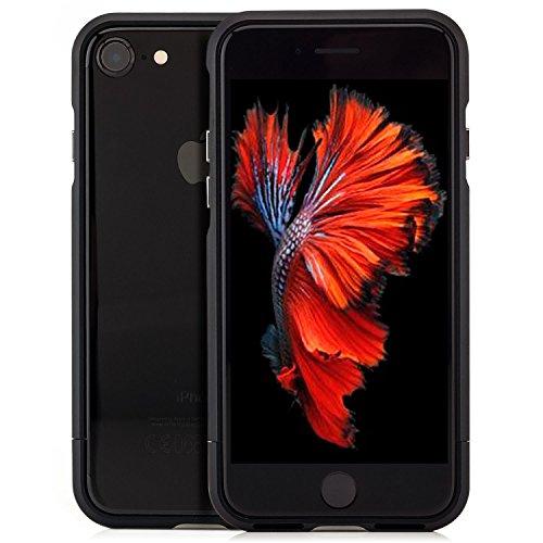 Coque aluminium iPhone 5 5S SE [Saxonia] Case Métal Housse Bumper rigide Ultra-mince Rose Gold (Or) Noir-Rouge