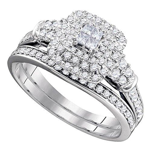 Damen-Ehering/Verlobungsring 14 kt Weißgold Prinzessin Diamant 3/4 Karat