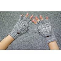 UEETEK Guantes sin dedos tejidos mitones de lana de invierno con Cubierta Extraíbles (gris)