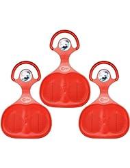 Com-Four® - 3deslizadores para la nieve, con diseño en el mango, en diferentes colores, 3 Stück - Glider Rot