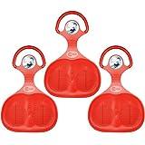 COM-FOUR® 3x Schneeflitzer Schneerutscher Rutscher Schlitten in rot (3 Stück - Glider Rot)