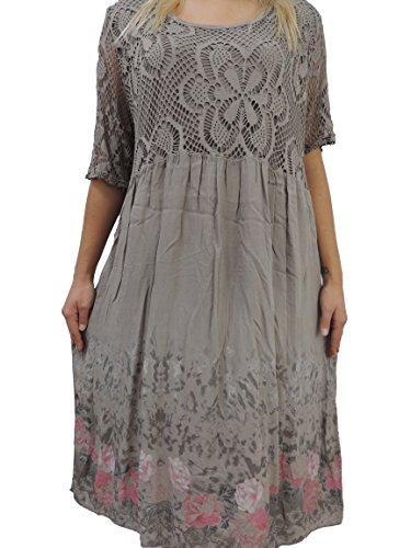 Schöne Farben zur Auswahl Damen Kleider Größe 46 48 50 52 54 mit Blumenmuster (Schlammfarbend)