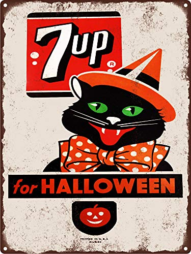 Yohoba Black Cat Jol 7up Halloween Soda Pop Baked Metal Repro Schild, 20,3 x 30,5 cm (7up Soda)