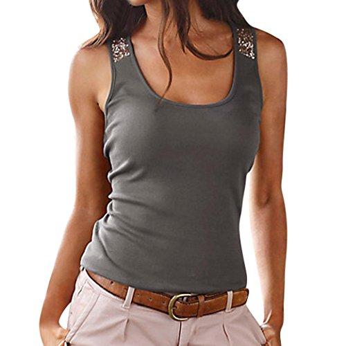 JUTOO Frauen Tops Sommer Dawomen Casual Bluse T-Shirt(Dunkelgrau, EU:36/CN:S)