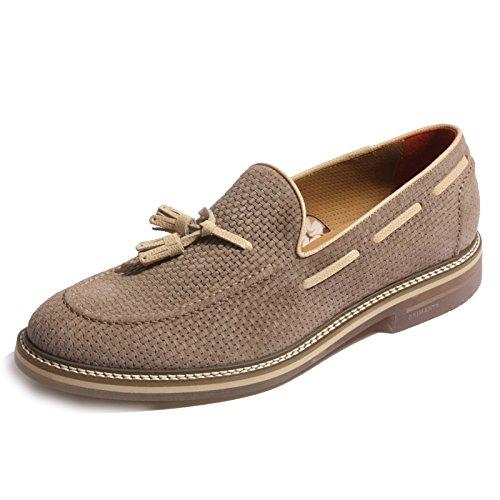 B0286 mocassino uomo BRIMARTS scarpa intrecciata beige shoes men [42]
