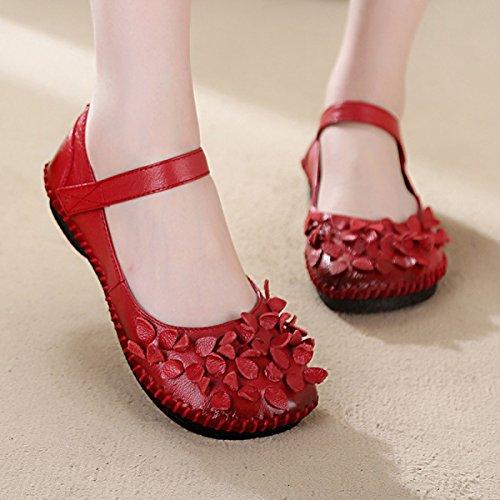 GRRONG Chaussures Plates Femmes Chaussures à La Main En Cuir Chaussures De Vent National Fond Mou red