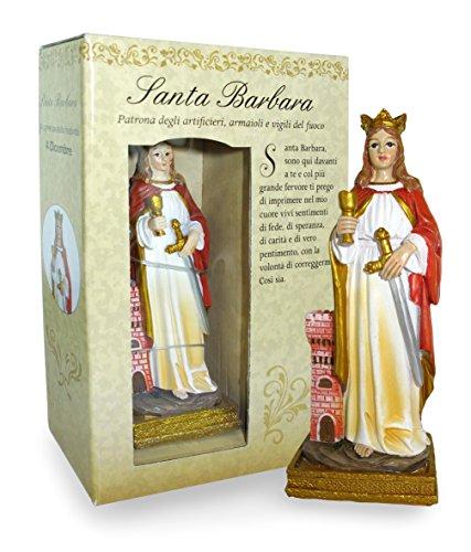 Statua di Santa Barbara di altezza 12 cm con segnalibro in confezione regalo