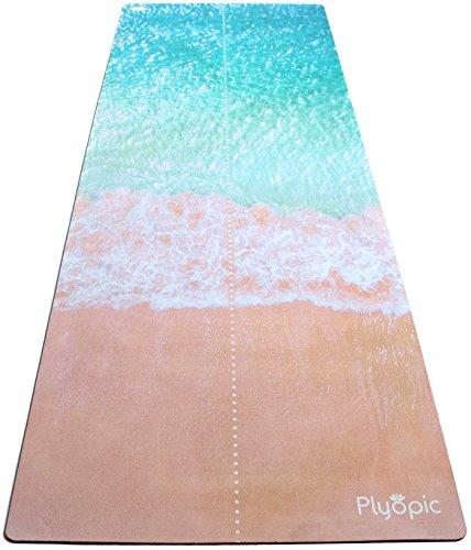 Plyopic All-In-One Yogamatte | Luxus Studio Matte/Yogatuch Combo | Schweiß-Rutschfest, Umweltfreundlich Naturkautschuk | Perfekt für Hot Yoga, Bikram, Ashtanga, Pilates, Fitness und HIIT. (Beach Face)