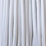 Cavo elettrico tondo rivestito in tessuto colorato per lampadari, lampade, abat jour. Il cavo elettrico diventa design! Scegli fra 30 colori. 10 Metri 2x0,75. Made in Italy! Bianco
