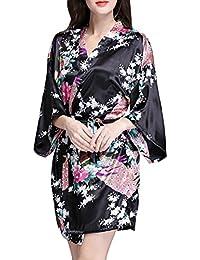Sidiou Group Bata de Satén Vestido Kimono Mujer Corto Camisón Pijamas Ropa de dormir Albornoz Saten