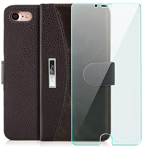 zanasta Tasche + Panzerglas iPhone 8 / iPhone 7 Hülle Flip Case Schutzhülle Cover Handytasche Wallet mit Kartenfach Schwarz Braun