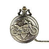 Wangxiaoxia-Accessories Taschenuhr Motorrad Muster Klassische Skulptur Taschenuhr Taschenuhr Vintage...