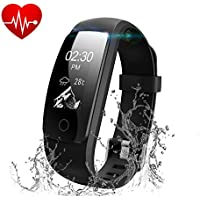 Fitness Tracker,Runme Activity Tracker con Cardio Cardiofrequenzimetro,Smartwatch con Pedometro/Messaggio Notifiche/Monitor del Sonno,Impermeabile IP67 Braccialetto Fitness per IOS/Android Smartphone