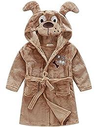 MUXILOVE Kinder Bademantel Morgenmantel Korallen Fleece Robe Pyjamas Nachtwäsche für Jungen und Mädchen