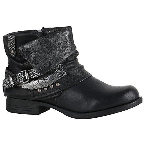Damen Glitzer Stiefeletten Bequeme Nieten Biker Boots 151461 Schwarz Silber Camiri 36 Flandell
