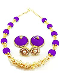Hot Selling Silk Thread Dori Necklace With Pearls And Earrings Jhumka Purple Color