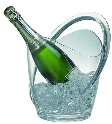 APS Wein- / Sektkühler ca. 23,2 x 22 cm, Höhe 27,4 cm Kunststoff, glasklar für eine Flasche geeignet mit Tragegriff