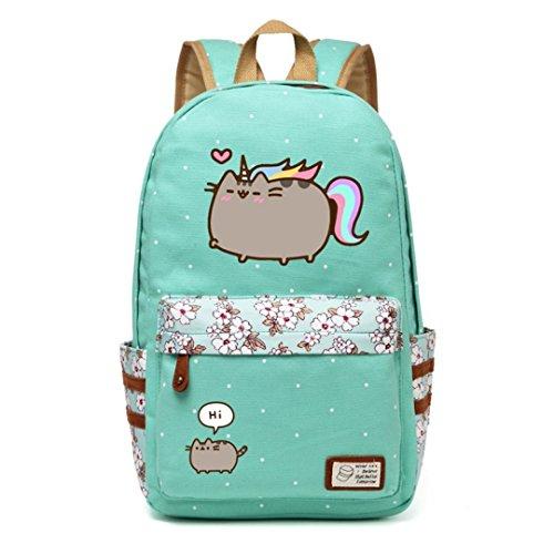 728298f60 Bolso de lona del gato Mochilas de unicornio flor Wave Point Mochila para  adolescentes Bolso de