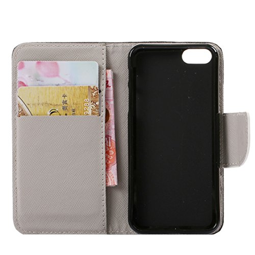 AYASHO® Coque iPhone SE / 5s, PU Cuir Etui Pochette Flip Wallet Housse Motif Style Mode Bookstyle Case Cas Portable Holster Pour Apple iPhone SE (Special Edition) / 5 / 5s , A28 A06