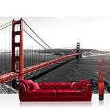Vlies Fototapete 400x280 cm PREMIUM PLUS Wand Foto Tapete Wand Bild Vliestapete - USA Tapete Golden Gate Bridge Wasser USA schwarz-weiß rot - no. 429