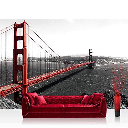 Vlies Fototapete 350x245 cm PREMIUM PLUS Wand Foto Tapete Wand Bild Vliestapete - USA Tapete Golden Gate Bridge Wasser USA schwarz-weiß rot - no. 429