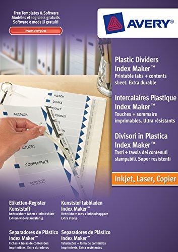 Avery Zweckform 5113081 Etiketten-Register (A4, Set, Kunststoff, Inhaltsblatt + Taben bedruckbar) transparent