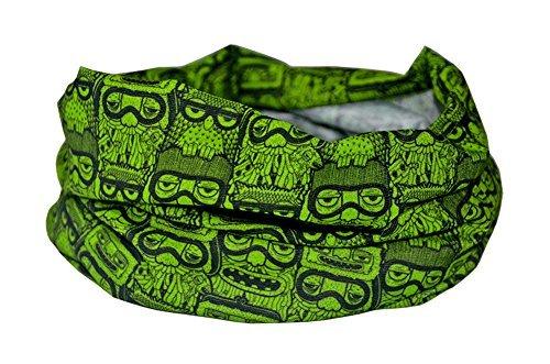 Ruffnek gufo verde funky snowboard scaldacollo / sciarpa multiuso, fascia per capelli, berretto - sci, ciclismo, corsa, escursionismo. per uomo, donna e bambino - taglia unica