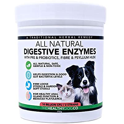 All Natural Probiotics & Digestive Enzymes For Dogs & Cats | 10 Billion CFU | Pre & Probiotic Digestion Support Supplements | Regulates Gut Bacteria, Anal Glands, Stools, Flatulence & Stomach Calming by The Healthy Dog Co
