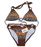 Triangel Bikini AZTEC - Damen Push up Zweiteiler Bikini Set mit Bikinioberteil und Bikinihose - Original von ROCK-IT - Farbe Braun - Small